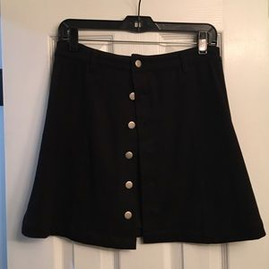 Suede black button front skirt